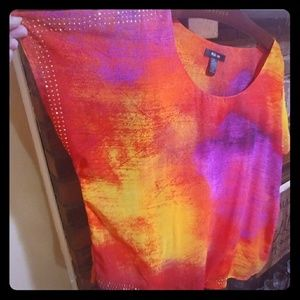 NWOT Colorful Sheer Flowy Blouse